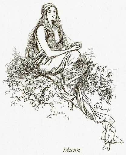 Iduna. Illustration for The Book of the Sagas by Alice S Hoffman (Ernest Nister, c 1910).