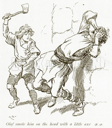 Olaf Smote him on the Head with a Little Axe. Illustration for The Book of the Sagas by Alice S Hoffman (Ernest Nister, c 1910).