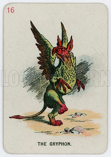 The Gryphon. Alice in Wonderland game cards; coloured by Gertrude Thomson; manufactured by Thomas de la Rue Ltd (c 1900).