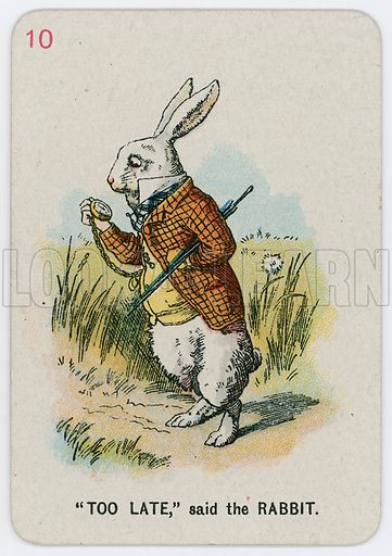 """""""Too Late,"""" said the Rabbit. Alice in Wonderland game cards; coloured by Gertrude Thomson; manufactured by Thomas de la Rue Ltd (c 1900)."""