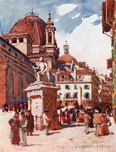 picture, Robert Charles Goff, painter, artist, Piazza S Lorenzo, Tuscanny