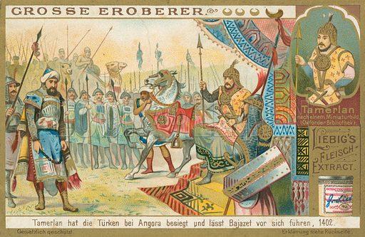 Tamburlaine conquers Bajazeth. Liebig card (early 20th century).