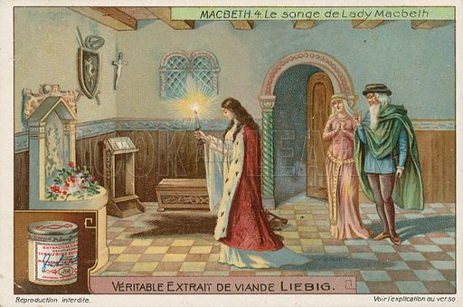 Macbeth. Liebig card (early 20th century).
