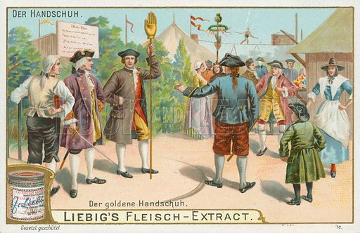 Gloves. Liebig card (early 20th century).