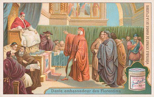 Dante, ambassador of the Florentines. Liebig card (early 20th century).