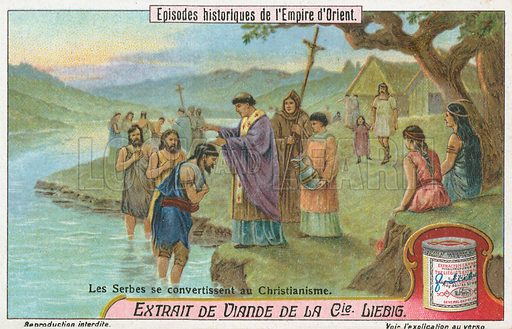 Serbs converted to Christianity. Liebig card (early 20th century).