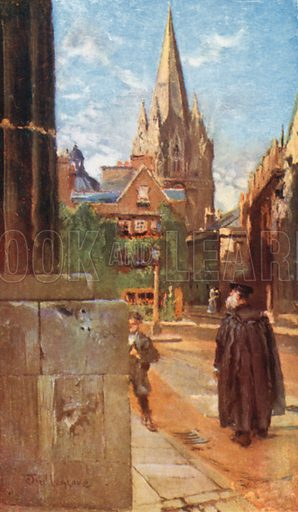 The University Church of St. Mary. Illustration for Oxford by Edward Thomas (A&C Black, 1903).