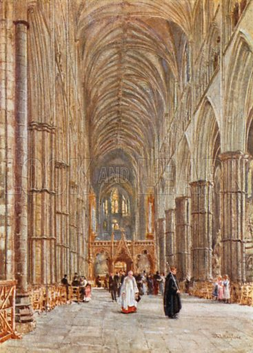 Nave of Westminster Abbey. Illustration for The Pageant of London by Richard Davey (Methuen, c 1910).