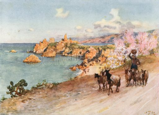 La Caldura, Cefalu. Illustration for Sicily by Spencer Musson (A&C Black, 1911).