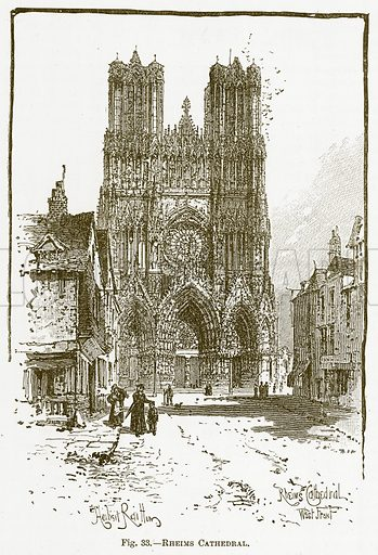 Rheims Cathedral. Illustration for The New Popular Educator (Cassell, 1891).