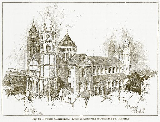 Worms Cathedral. Illustration for The New Popular Educator (Cassell, 1891).