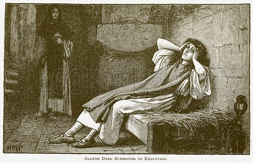 Jeanne Darc Summoned to Execution. Illustration for The New Popular Educator (Cassell, 1891).