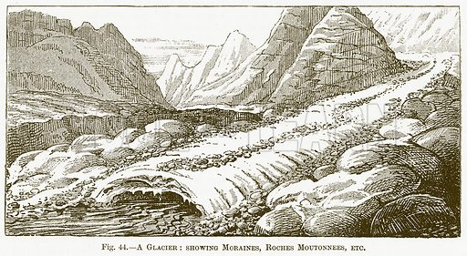 A Glacier: Showing Moraines, Roches Moutonnees, etc. Illustration for The New Popular Educator (Cassell, 1891).