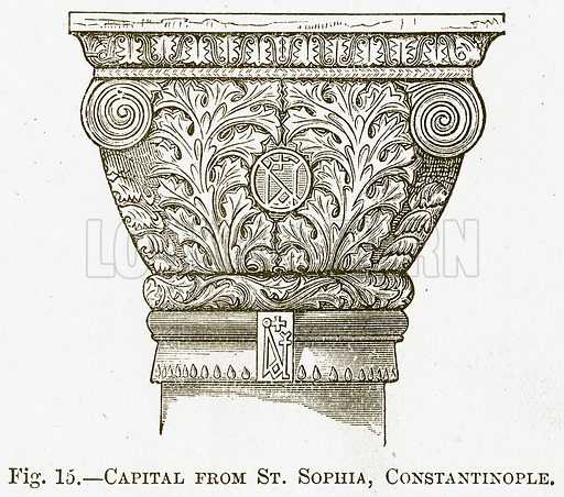 Capital from St. Sophia, Constantinople. Illustration for The New Popular Educator (Cassell, 1891).