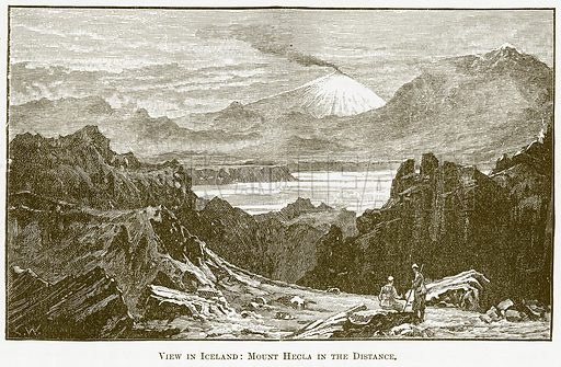 View in Iceland: Mount Hecla in the Distance. Illustration for The New Popular Educator (Cassell, 1891).