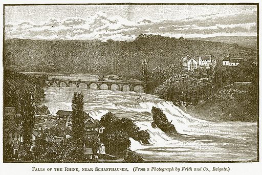 Falls of the Rhine, near Schaffhausen. Illustration for The New Popular Educator (Cassell, 1891).
