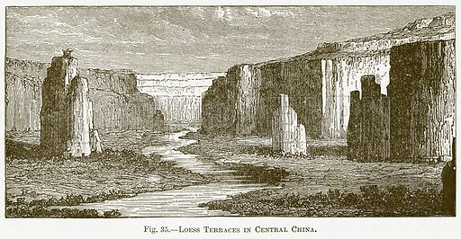 Loess Terraces in Central China. Illustration for The New Popular Educator (Cassell, 1891).