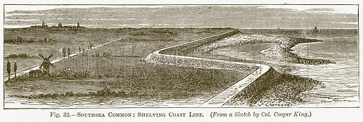 Southsea Common: Shelving Coast Line. Illustration for The New Popular Educator (Cassell, 1891).