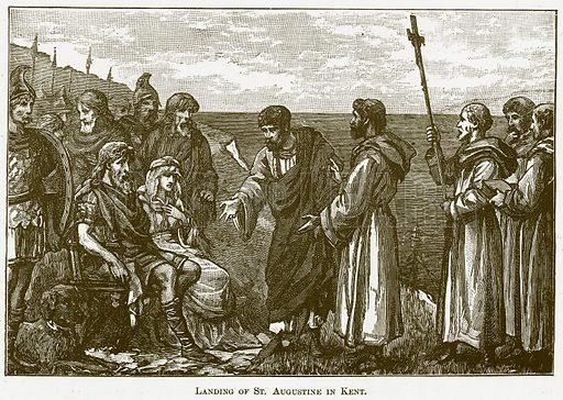 Landing of St. Augustine in Kent. Illustration for The New Popular Educator (Cassell, 1891).