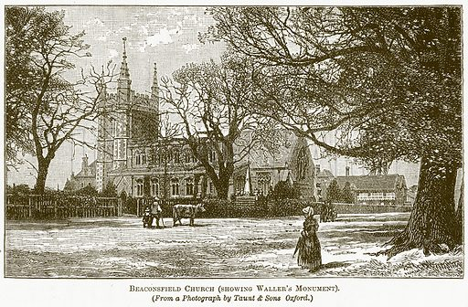 Beaconsfield Church (showing Waller's Monument). Illustration for The New Popular Educator (Cassell, 1891).