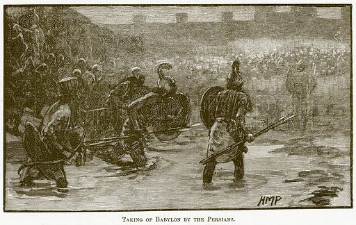 Taking of Babylon by the Persians. Illustration for The New Popular Educator (Cassell, 1891).