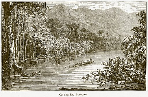 On the Rio Polochic. Illustration for The New Popular Educator (Cassell, 1891).