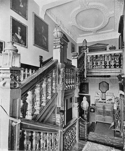 Sydenham House: The Stairway. Photograph in In English Homes Vol 1 (Country Life, 1904).