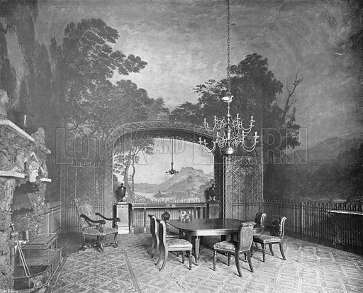 Drakelow Hall: The Painted Dining-Room. Photograph in In English Homes Vol 1 (Country Life, 1904).