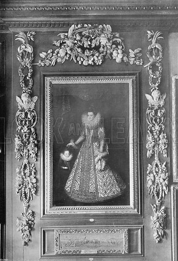 Portrait of the Archduchess Isabella at Hampton Court. Photograph in In English Homes Vol 1 (Country Life, 1904).