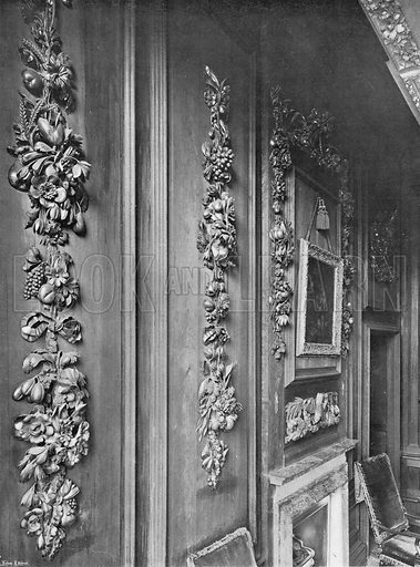 Masterpieces of Grinling Gibbons in the Chapel Gallery. Photograph in In English Homes Vol 1 (Country Life, 1904).