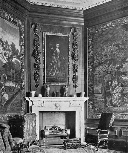 Fruit and Flowers by Gibbons in the Tapestry-Room. Photograph in In English Homes Vol 1 (Country Life, 1904).