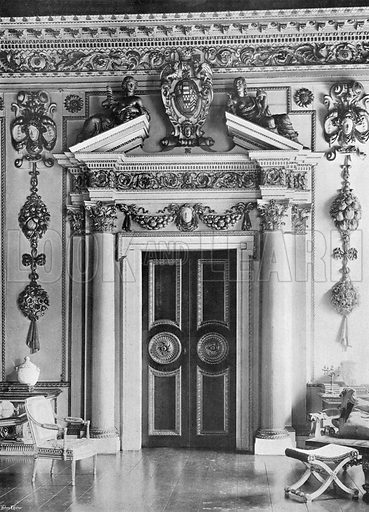 South Door in the Double Cube Room. Photograph in In English Homes Vol 1 (Country Life, 1904).