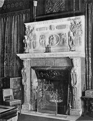 The Billiard-Room Chimney-Piece. Photograph in In English Homes Vol 1 (Country Life, 1904).