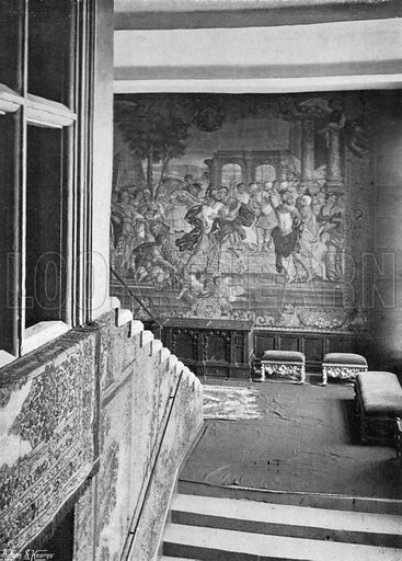 Tapestry on the Staircase. Photograph in In English Homes Vol 1 (Country Life, 1904).