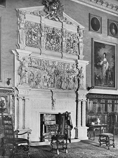 The Chimney-Piece in the Hall. Photograph in In English Homes Vol 1 (Country Life, 1904).