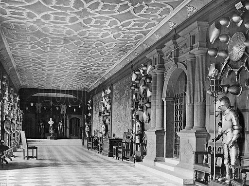 The Cloister or Armoury. Photograph in In English Homes Vol 1 (Country Life, 1904).