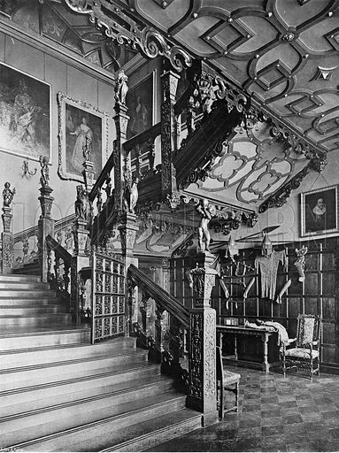 The Foot of the Grand Stairway. Photograph in In English Homes Vol 1 (Country Life, 1904).