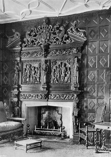 Fireplace in the Small Dining-Room. Photograph in In English Homes Vol 1 (Country Life, 1904).