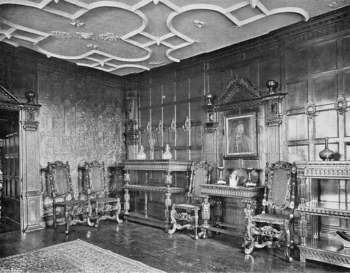 The Dining-Room, South End. Photograph in In English Homes Vol 1 (Country Life, 1904).