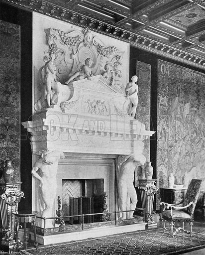 Marble Chimney-Piece in the Saloon. Photograph in In English Homes Vol 1 (Country Life, 1904).