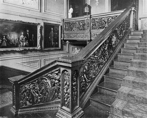 The Ascent to the Gallery. Photograph in In English Homes Vol 1 (Country Life, 1904).