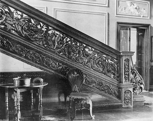 The Lower Stairway. Photograph in In English Homes Vol 1 (Country Life, 1904).
