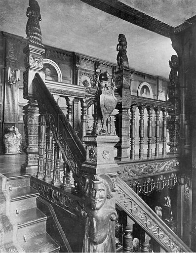 The Upper Stairway. Photograph in In English Homes Vol 1 (Country Life, 1904).