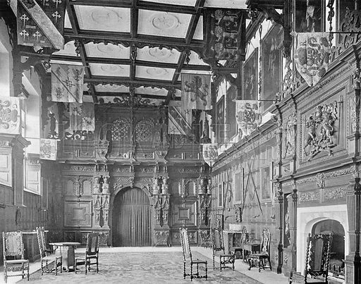 The Hall and its Oaken Screen. Photograph in In English Homes Vol 1 (Country Life, 1904).