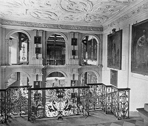 The Hall as seen from the Stairway. Photograph in In English Homes Vol 1 (Country Life, 1904).