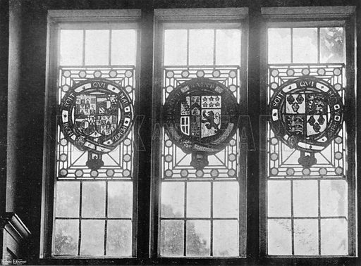 Ancient Glass over the South Hall Door. Photograph in In English Homes Vol 1 (Country Life, 1904).