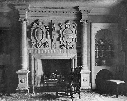 The Dining-Room Chimney-Piece. Photograph in In English Homes Vol 1 (Country Life, 1904).