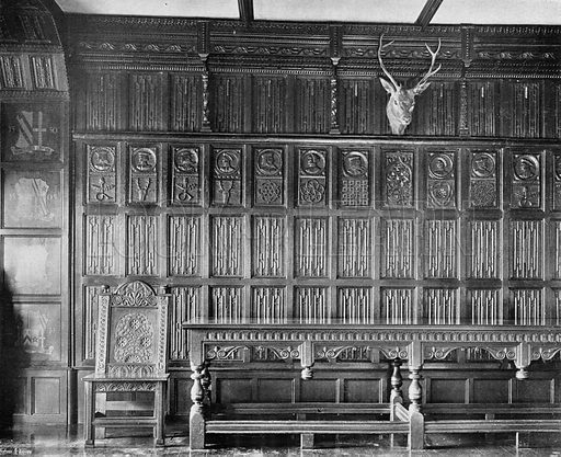 The Linen-Pattern Panelling of the Dining-Room. Photograph in In English Homes Vol 1 (Country Life, 1904).