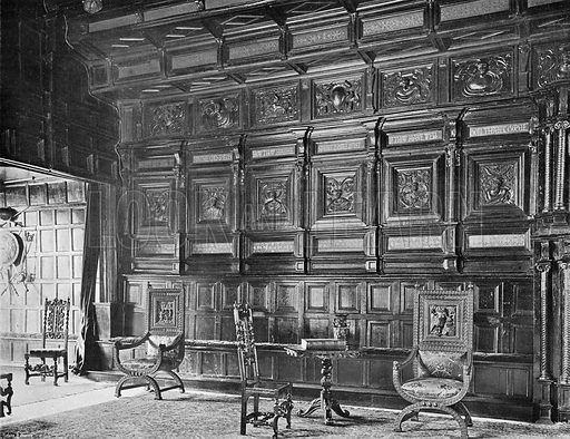 The Old Panelling in the Great Hall. Photograph in In English Homes Vol 1 (Country Life, 1904).
