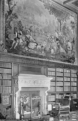 Tapestry in the Library. Photograph in In English Homes Vol 1 (Country Life, 1904).
